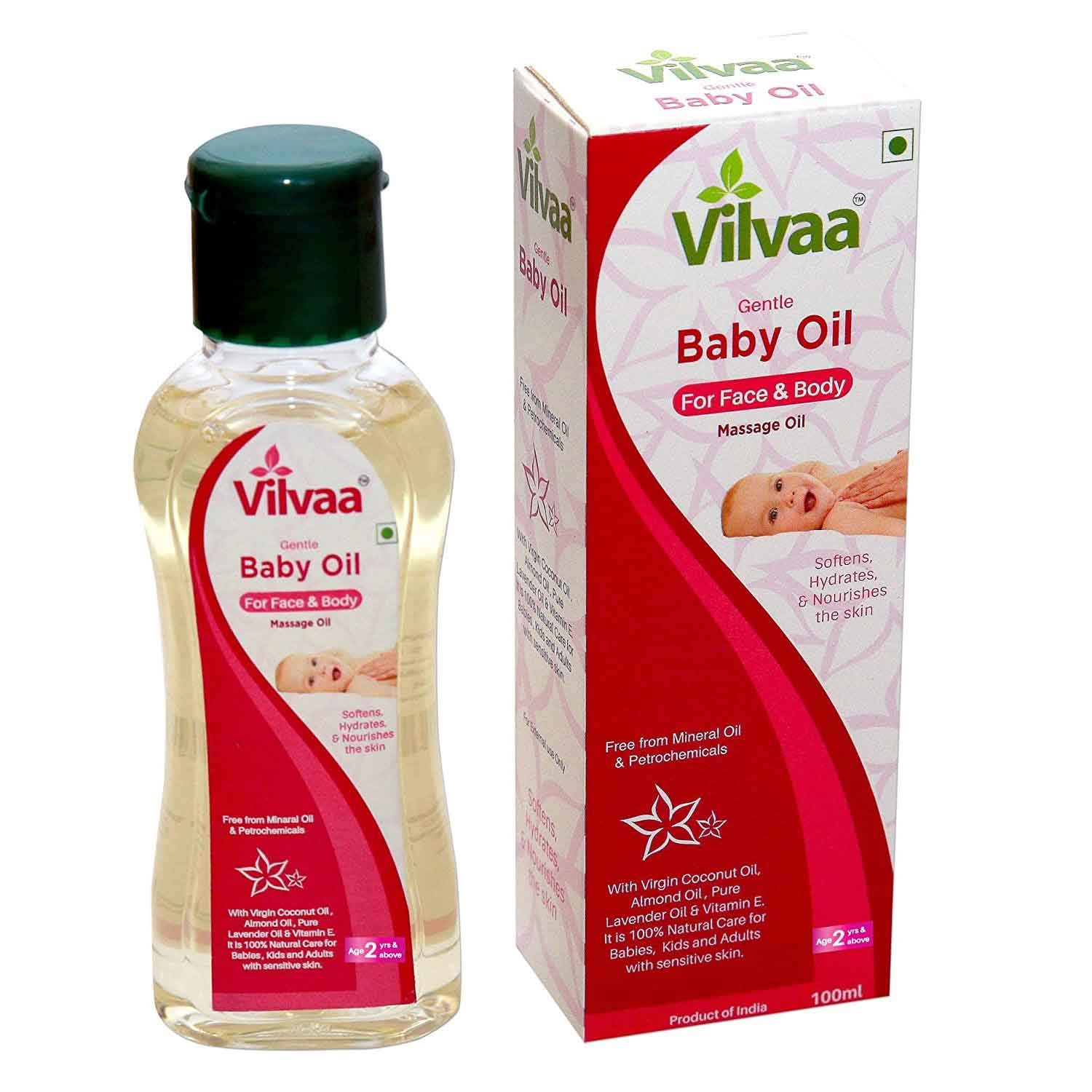 Vilvaa Gentle Baby Massage Oil 100ml – 2 Years and Above