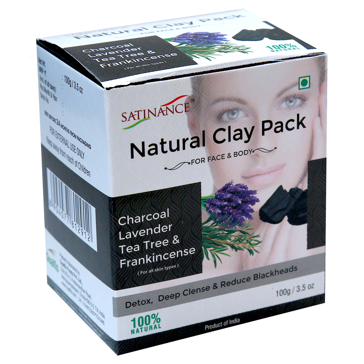 Natural Clay Pack Charcoal, Lavender, Tea Tree & Frankincense – 100g ( Detox, Deep clense & Reduce Blackheads)