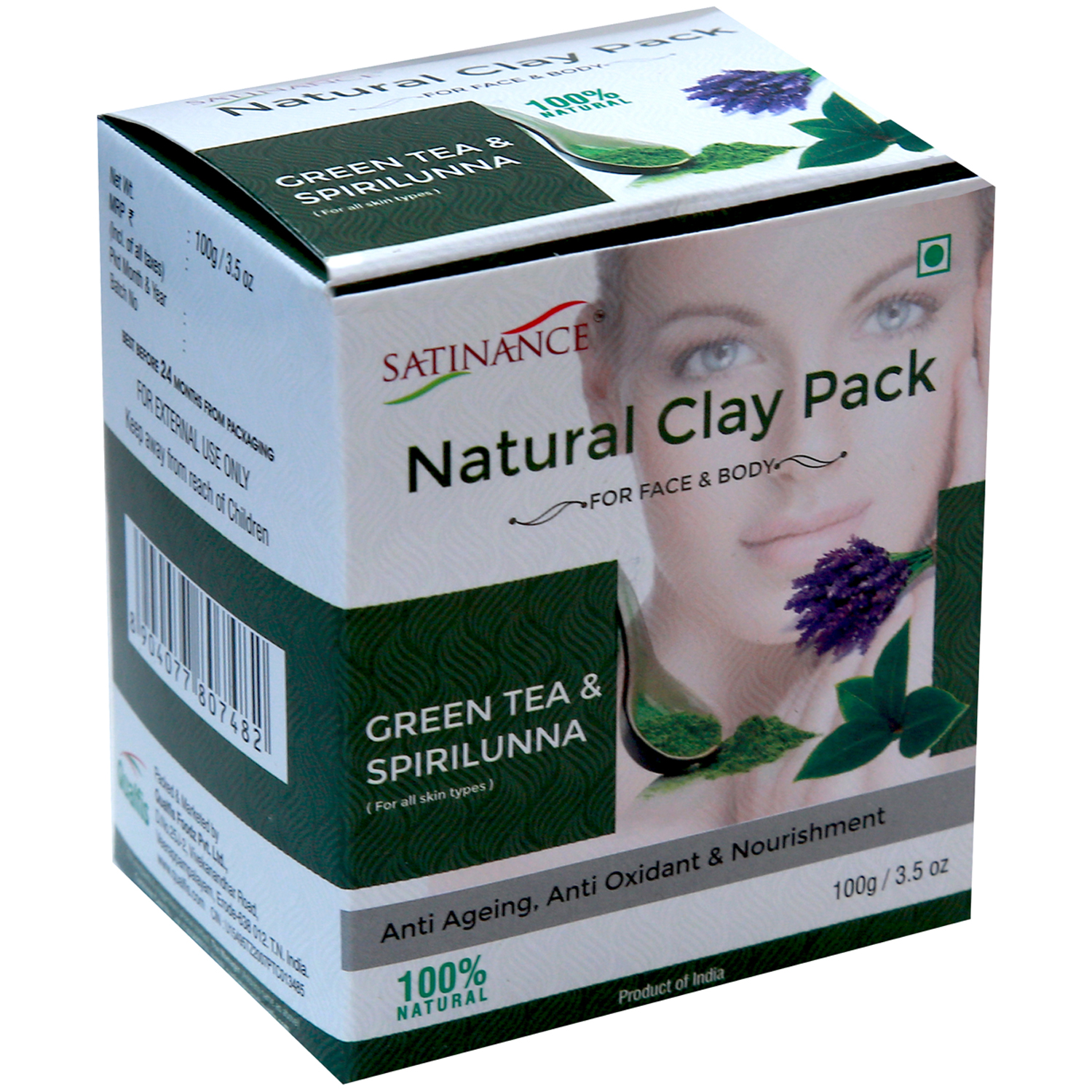 Natural Clay Pack Green Tea & Spirilunna - 100g ( Anti Ageing, Anti Oxidant & Nourishment)
