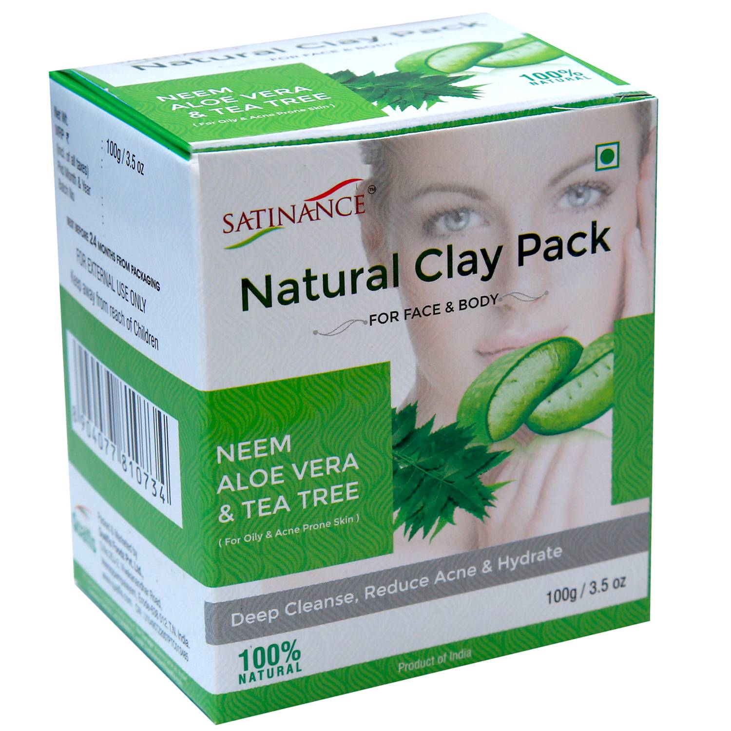 Natural Clay Pack – Neem, Ale Vera & Tea Tree – 100g (Deep Cleanse, Reduce acne & Hydrate)