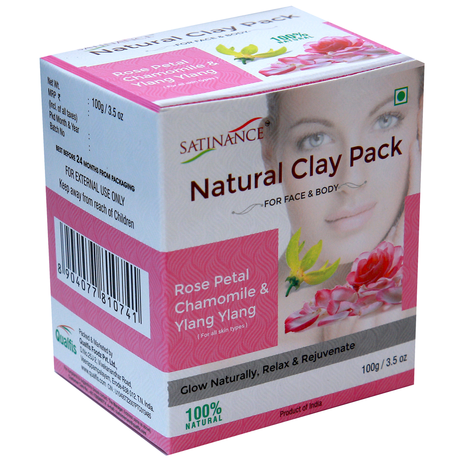 Satinance Natural Clay Pack Rose Petal, Chamomile & Ylang Ylang 100g (Glow Naturally, Relax & Rejuvenate)