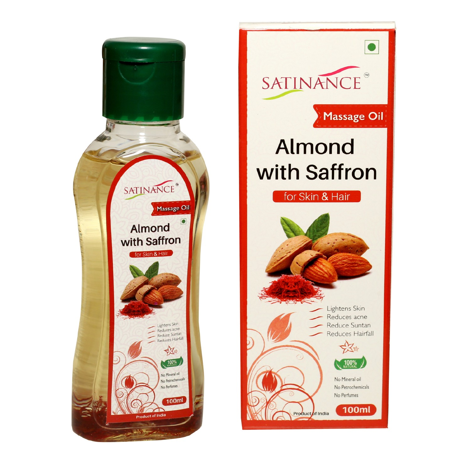 Almond With Saffron Massage Oil -100ml(No Mineral Oil, No Petrochemicals, No Perfumes)